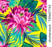 vector tropical pattern with... | Shutterstock .eps vector #739607743