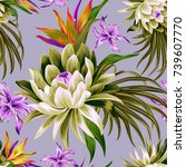 vector tropical pattern with... | Shutterstock .eps vector #739607770