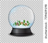 snow globe with house with... | Shutterstock .eps vector #739609198