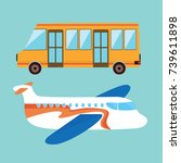 flat bus and an airplane.... | Shutterstock .eps vector #739611898