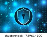 the concept of cyber security.... | Shutterstock .eps vector #739614100