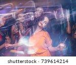 disco party in night club in... | Shutterstock . vector #739614214