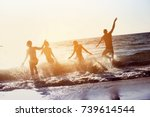 happy friends having fun at... | Shutterstock . vector #739614544