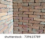 old red corner brick wall... | Shutterstock . vector #739615789