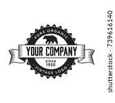 vintage bear logo badge. flat... | Shutterstock .eps vector #739616140