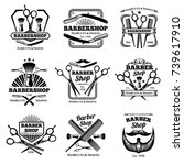 retro barber shop vector badges.... | Shutterstock .eps vector #739617910