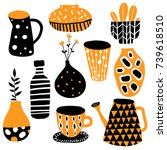 set of ten colorful hand drawn... | Shutterstock .eps vector #739618510