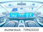 autonomous smart car interior.... | Shutterstock .eps vector #739623223