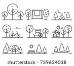 set of outline design vector... | Shutterstock . vector #739624018