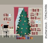 christmas home scene with...   Shutterstock .eps vector #739624486