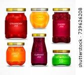 homemade fruit jam jars with... | Shutterstock .eps vector #739626208