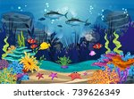 underwater illustration and... | Shutterstock .eps vector #739626349