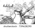 coffee product label by pen  ... | Shutterstock .eps vector #739628290