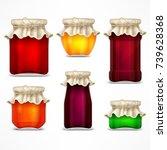 set of natural jam preserves... | Shutterstock .eps vector #739628368