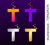 letter t colorful and gold... | Shutterstock .eps vector #739629274