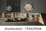 modern kitchen top view  opened ... | Shutterstock . vector #739629508