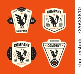 set of vintage badges with... | Shutterstock .eps vector #739633810
