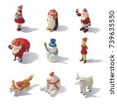 isometric christmas characters... | Shutterstock .eps vector #739635550