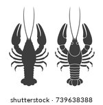 Crayfish Silhouette. Isolated...