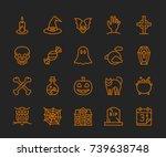 halloween icons   monoline... | Shutterstock .eps vector #739638748