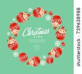 boy and girl wearing christmas...   Shutterstock .eps vector #739638988