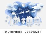 scenery in the winter with... | Shutterstock .eps vector #739640254