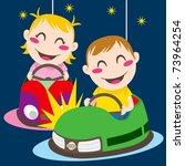 boy and girl driving bumper... | Shutterstock .eps vector #73964254