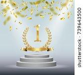winner background with golden...   Shutterstock .eps vector #739643500