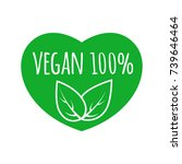 vegan food sign with leaves in... | Shutterstock .eps vector #739646464
