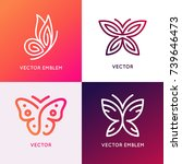 vector set of abstract logo... | Shutterstock .eps vector #739646473