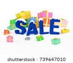3d render christmas sale... | Shutterstock . vector #739647010