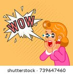surprised female customer girl... | Shutterstock .eps vector #739647460