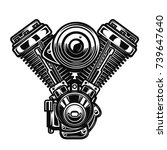 motorcycle engine illustration... | Shutterstock .eps vector #739647640