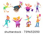 circus characters. funny clowns ... | Shutterstock .eps vector #739652050