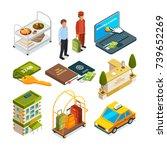 hotel reception  isometric set... | Shutterstock .eps vector #739652269