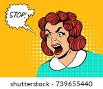 pop art style comic terrified... | Shutterstock .eps vector #739655440