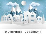 scenery in the winter with... | Shutterstock .eps vector #739658044