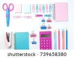 stationary concept  flat lay... | Shutterstock . vector #739658380