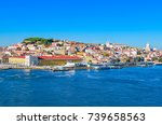 port of lisbon. skyline of... | Shutterstock . vector #739658563