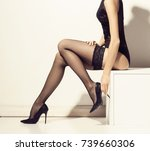 beautiful and sexy female legs. ... | Shutterstock . vector #739660306
