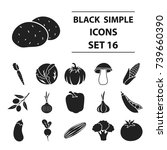 vegetables set icons in black... | Shutterstock . vector #739660390