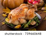 roasted turkey garnished with... | Shutterstock . vector #739660648