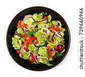 Small photo of Vegan salad of fresh vegetables and cabbage romanesko isolated white background. Dietary menu. Proper nutrition. Flat lay. Top view