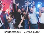 new year party. young couple... | Shutterstock . vector #739661680
