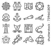 nautical icons set. set of 16... | Shutterstock .eps vector #739661809