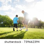 family playing in the park | Shutterstock . vector #739662394