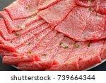 premium japanese wagyu beef...   Shutterstock . vector #739664344