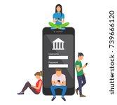 mobile banking concept... | Shutterstock .eps vector #739666120