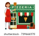 happy woman chef holding pizza... | Shutterstock .eps vector #739666570