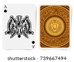 ace of spades face with warrior ... | Shutterstock .eps vector #739667494